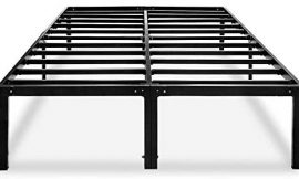 Metal Platform Bed Frame Queen Size Heavy Duty 14 Inch Beds No Box Spring Steel Slat Frames with Storage Black, AQ