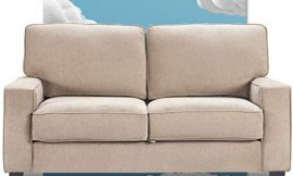 Serta Palisades Sofas with Storage Modern Design, Track Arms, Foam-Filled Cushions, Easy-to-Clean Fabric Upholstery, 61″ Loveseat, Soft Beige