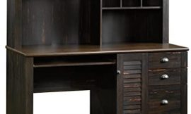 Sauder Harbor View Computer Desk with Hutch, Antiqued Paint finish