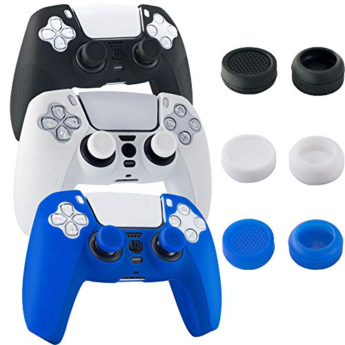 YZLP 3 Packs PS5 Controller Skin Grip Cover, Anti-Slip Silicone Protective Case Kit for PlayStation 5 Gamepad with 6 Thumb Grip Caps (Black White Blue)