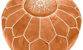Marrakesh Gallery Moroccan Pouf Cover – Round & Large Ottoman Leather Cover Pouf – Bohemian Living Room Decor – Hassock & Ottoman Footstool – Unstuffed (Tan)