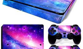 Ps4 Slim Stickers Full Body Vinyl Skin Decal Cover for Playstation 4 Console Controllers (with 4pcs Led Lightbar Stickers) (Pink Starry Sky)