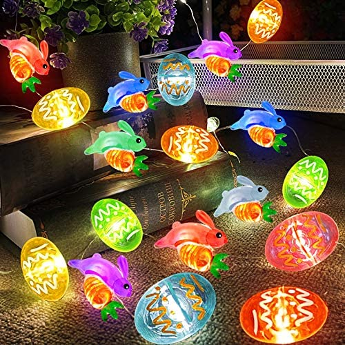 TURNMEON Easter Lights Decorations 10 Ft 40 Led Bunny Lights Easter Eggs Holds Carrot Battery Operated Copper Wire Fairy Lights for Bedroom Easter Decor Outdoor Home Indoor Party Tree(Warm White)