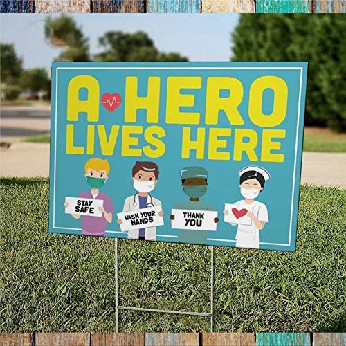 Lawn Sign, Yard Cards A Hero Lives Here (Healthcare) Yard Sign Decor Weather Proof Banner with H-Metal Stake for Outdoor Patio Garden Porch 18″X24″