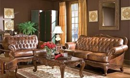 Stonecroft Furniture State Road 2 Piece Classic Brown Leather Sofa Set