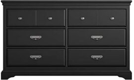 Ameriwood Home Bristol Classic Study 6 Drawer Double Bedroom Dresser in Black with Handles