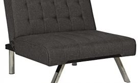 DHP Emily Accent Chair with Split-Back and Chrome Legs, Grey Linen