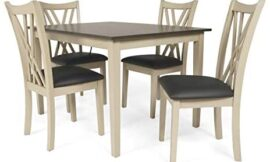 New Classic Furniture Paige Dining Table Set, 5-Piece, Creme and Brown