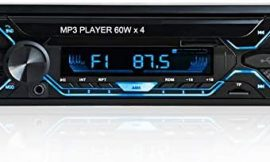Aigoss Car Stereo with Bluetooth, Single Din Radio FM Media MP3 Player, 60W x 4 USB/TF/SD/AUX Audio Receiver with File Reading, Support Hands Free Calling with Wireless Control and 5 Colour Backlight