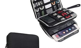 BUBM Double Layer Electronics Organizer/Travel Gadget Bag For Cables,Memory Cards,Flash Hard Drive and More,Fit For iPad Or Tablet(Up To 9.7″)–Large, Black