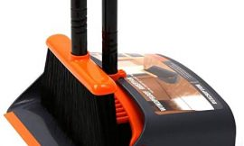 TreeLen Broom and Dustpan / Dustpan with Broom Combo with 52″ Long Handle for Home Kitchen Room Office Lobby Floor Use Upright Stand Up Dustpan and Broom Set