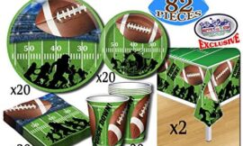 Deluxe Football Theme Party Supplies Set for 20 People, Includes 20 Large Plates, 20 Small Plates, 20 Napkins, 20 Cups & 2 Table Covers – Perfect for Gameday or Birthday (82 Pieces Total)