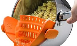 Kitchen Gizmo Snap N Strain Strainer – Orange | Patented Clip On Silicone Colander | Fits all Pots and Bowls