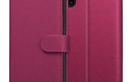 KILINO iPhone Xs Wallet Case, iPhone X Flip Case [Saffiano Leather] [RFID Blocking] [Shock-Absorbent Bumper] [Card Slots] [Folding Stand] Folio Case Compatible with iPhone X – Magenta