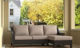 Serta Tahoe Outdoor Chaise Sectional in Terra Brown Wicker