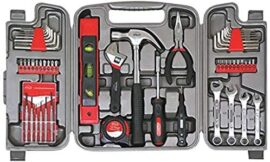 Apollo Tools DT9408 53 Piece Household Tool Set with Wrenches, Precision Screwdriver Set and Most Reached for Hand Tools in Storage Case , Red