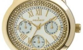 Peugeot 7089G Women's Crystal Accent Gold-Tone Multifunction Watch
