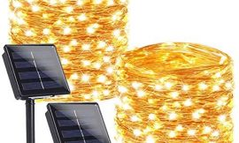 BHCLIGHT 2 Pack Each 100 LED Solar String Lights, Upgraded Super Durable Solar Lights Outdoor, Waterproof 8 Modes Fairy Lights for Christmas Party Holiday -Warm White, Copper Wire