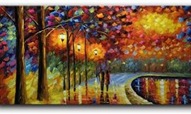 Shuaidi Art 24x48inch 100% Hand Painted Contemporary Abstract Oil Paintings Modern Decorative Artwork on Canvas Wall Art Ready to Hang for Home Decoration Wall Decor
