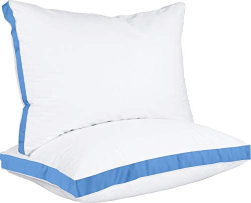 Utopia Bedding Gusseted Pillow (2-Pack) Premium Quality Bed Pillows – Side Back Sleepers – Blue Gusset – King – 18 x 36 Inches