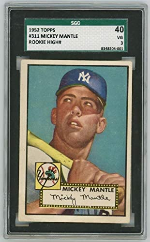 1952 Topps Mickey Mantle #311 Rookie. SGC 3