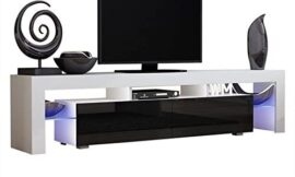 TV Stand Solo 200 Modern LED TV Cabinet/Living Room Furniture/Tv Cabinet fit for up to 90-inch TV Screens/High Capacity Tv Console for Modern Living Room (White/Black)