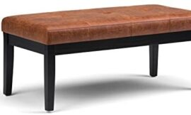 Simpli Home AXCOT-268-DSB Lacey 43 inch Wide Contemporary Ottoman Bench in Distressed Saddle Brown Faux Air Leather