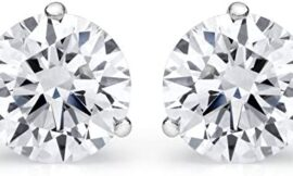 1-3 Carat 18K White Gold GIA Certified Round Cut Diamond Earrings 3 Prong Push Back Luxury Collection (D-E Color, VS1-VS2 Clarity)