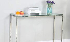 Sofa Console Table Modern Glass Chrome Narrow Console Tables Sofa Table for Entryway Easy Assemble Entry Table for Entryway Living Room Hallway 47x 16 x 31inch(WxDxH)