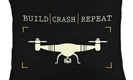 Funny Tech Toy Gadget Pilot-Build Crash Repeat-Drone Racing Gift Throw Pillow, 18×18, Multicolor