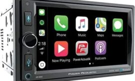 POWER ACOUSTIK CP-650 Double DIN Bluetooth in-Dash Digital Media Car Stereo Receiver with Touchscreen, Apple CarPlay, 6.5″