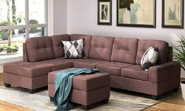 uslion Sofa Set 3 Piece Sectional Sofa Microfiber with Reversible Chaise Lounge Storage Ottoman and Cup Holders Living Room Sets (Brown)