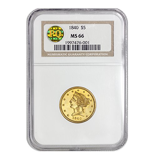 1840 American Gold Liberty Head Half Eagle MS-66 PQ Approved by CoinFolio $5 MS66 NGC