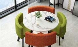 Dining Table Set 35.4″ Round Wooden Small Dining Table Set 4 Upholstered Chairs for Small Spaces Kitchen Table and Chairs Dining Room Table Modern Home for Restaurant(White Table + Orange Green Chair)