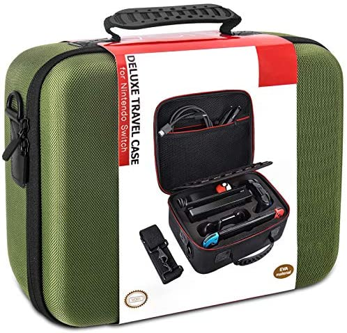 Carrying Storage Case for Nintendo Switch, Hard Shell Portable Protective Travel Bag Compatible with Switch Console & Accessories, Green