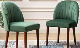 CIMOTA Velvet Upholstered Dining Chairs Set of 2, Modern Tufted Chair Armless Side Chair with Wooden Legs for Kitchen Dining Room Living Room, Green