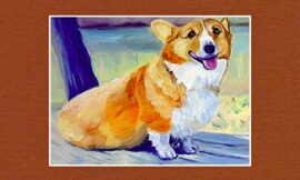 Pembroke Welsh Corgi dog matted Original Fine Art Oil Painting by Lyn Hamer Cook Note: room view is for display purposes only to show how the painting may look in a room. Painting is unframed.