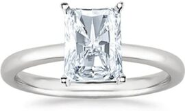 3 Ct GIA Certified Radiant Cut Solitaire Diamond Engagement Ring 14K White Gold (H Color SI2 Clarity)