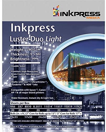 Inkpress Duo Luster Double Sided 8.5×11″ Inkjet Paper 25 Sheets, 10 mil, 99 Percent Bright, 280 gsm