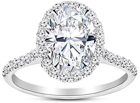 3.5 Ctw 14K White Gold Halo Oval Cut GIA Certified Diamond Engagement Ring (3 Ct H Color SI1 Clarity Center Stone)