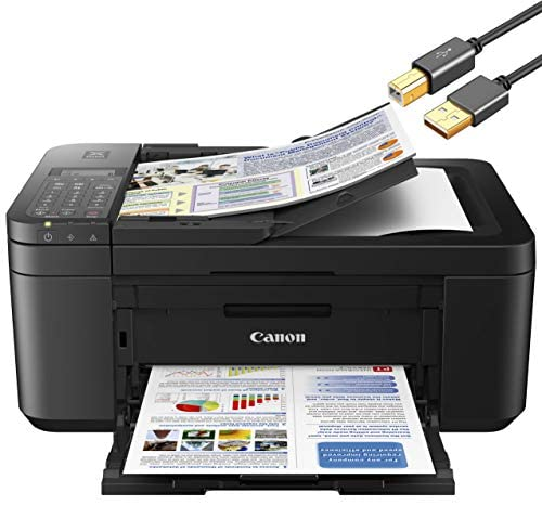 Canon PIXMA TR Series All-in-One Color Wireless Inkjet Printer for Home Office – Black – Print Scan Copy Fax – Auto 2-Sided Borderless Photo Printing – 4800 x 1200 dpi – ORPHYER 10 Feet Printer Cable