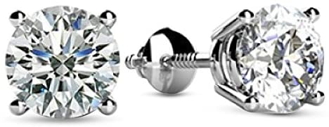 1-3 Carat 18K White Gold GIA Certified Round Cut Diamond Earrings 4 Prong Screw Back Luxury Collection (D-E Color, VS1-VS2 Clarity) – Ideal Cut