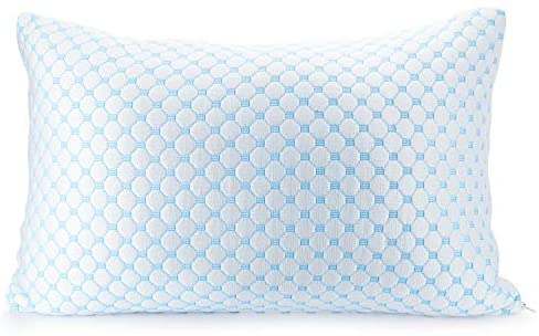 Clara Clark Gel Infused Shredded Memory Foam Adjustable Soft Bed Pillow Reversible Multi-Use Cool to Velvety, Queen Size, White