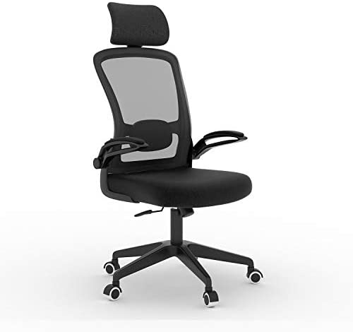 AXRUNZE Ergonomic Office Chair High-Back Executive Mesh Desk Chair Height Adjustable Chair with Flip-Up Padded Armrest Breathable Computer Chair with Adjustable Headrest and Lumbar Support Black.