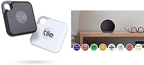 Tile Pro2-pack High Performance Bluetooth Tracker Keys Finder and Item Locator for Keys and Water Resistance and 1 Year Replaceable Battery with New Echo Dot 4th Gen Smart Speaker Alexa Charcoal