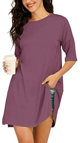 Haola Women's Nightgown Loose Dress Casual Tunic Sleep Shirt Short Sleeve T Shirts