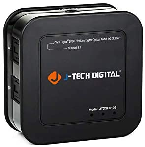 J-Tech Digital Premium Quality SPDIF TOSLINK Digital Optical Audio 1×3 Splitter (One Input 3 Outputs)