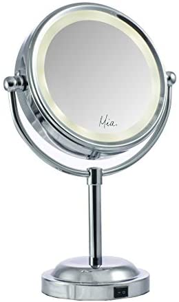 Mia Beauty Vanity Mirror 10x 1x Magnification Double-Sided Cordless LED Lighted Beautiful Polished Silver Chrome Finish for Women, Hair Stylists, Cosmetologists, Teens, Bathroom, Table Top