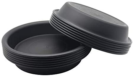 BangQiao 12 Pack 7.00 Inch Plastic Round Plant Pot Saucer Drip Tray for Indoor and Outdoor Plants, Black