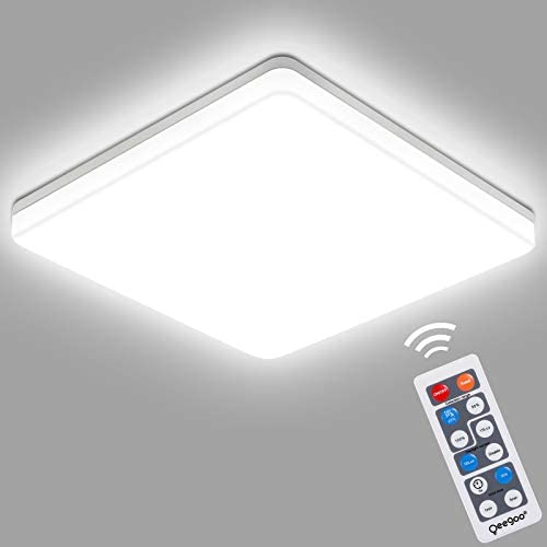 Oeegoo Motion Sensor LED Light Fixture, Indoor Flush Mount 18W Square Ceiling Light with Remote, 8.66inch Motion Lighting Fixture for Garage Porches Hallways Stairs